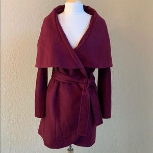 Tahari Marla Wool Coat Burgundy